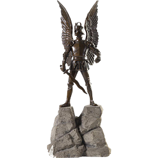 Bronze Gothic Style Sculpture of St. Michael the Archangel with Sword