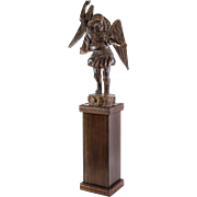 """Carved Wooden Statue of St. Michael the Archangel on Pedestal 95"""" Tall"""