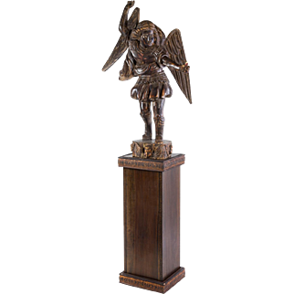 "Carved Wooden Statue of St. Michael the Archangel on Pedestal 95"" Tall"