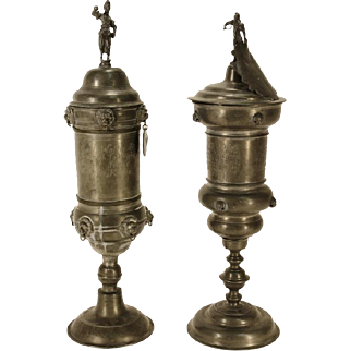 "Pair of Antique German Pewter ZunftPokals (Guild Pokals or Goblets) 21"" Tall with Knight Finials"