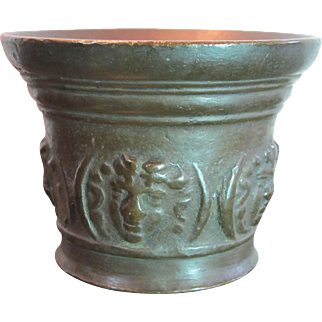 Bronze Mortar with Renaissance style faces 17th Century