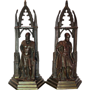 Pair of Bronze Gothic Revival Roman Warrior Bookends