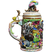 Antique 1L Schierholz Porcelain German Beer Stein Capo-di-monte Style Battle Scene
