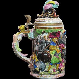 Antique 1L Schierholz Porcelain German Beer Stein Capo-di-monte Style Battle Scene
