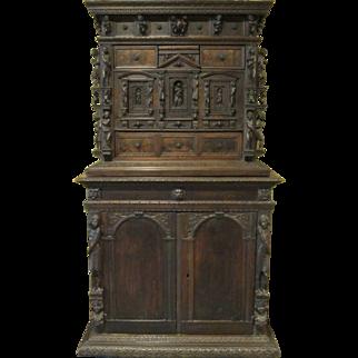 17th Century Carved Italian Bambocci Cabinet