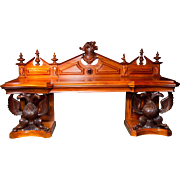 A Very Important and Rare Irish Armorial Server or Side Table in Mahogany.