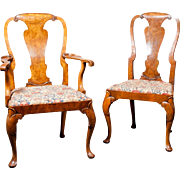 A Beautiful Set of 12 Matching English Antique Walnut Queen Anne Dining Chairs Circa 1890