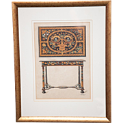 A pair of color lithographs of  English period marquetry pieces.