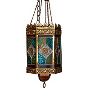A 19th century Stained Glass light fixture.