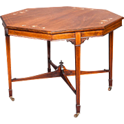 A Very Good English Aesthetic Movement Octagonal  Table or Games Table in Rosewood.