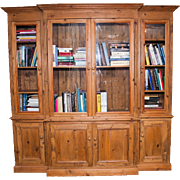 An English 20th century Breakfront Bookcase in English scrubbed pine.