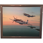 Oil Painting of a pair of WW II P 51 Mustangs by Raymond Waddey '83.