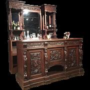 A well carved Oak Pub Bar, unique.