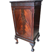 English Edwardian mahogany music cabinet, Chippendale design