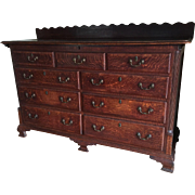 A north of England oak dresser base, circa 1820.