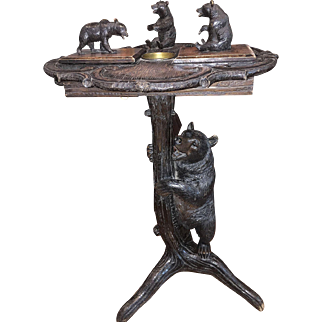 An antique Black Forest Smokers Stand from Switzerland.