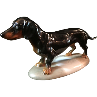 Herend porcelain figure of a Dachshund .