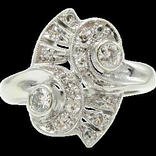 Retro Mid-Century .40ctw Diamond Cocktail Ring 14K White Gold   Alternative Engagement Ring   Right Hand Statement Ring