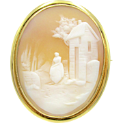 Scenic Carved Shell Cameo Rolled Gold Antique Pendant / Brooch Pin