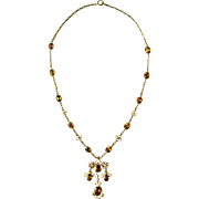Regal Antique Honey Colored Citrine Arts & Crafts 14K Gold Statement Pendant Necklace