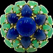 Lapis Lazuli, Chrysoprase, & Diamond 18K Gold Vintage Italian Cocktail / Statement Ring