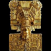 Vintage Mexican Aztec God of Death Mictlantecuhtli Mask 14K Pendant / Brooch