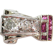 Diamond & Ruby Retro Vintage 14 Karat White Gold Buckle Style Ring | Cocktail Ring | Statement Ring | Alternative Bridal | Engagement Ring
