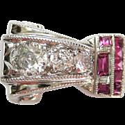 Diamond & Ruby Retro Vintage 14 Karat White Gold Buckle Style Ring | Cocktail Ring | Statement Ring | Alternative Bridal | Engagement Ring