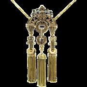 Fine Antique Taille d'Epargné Black Enamel Victorian Foxtail Tassel Pendant / Brooch / Chatelaine / Necklace | Memento Mori | Mourning Jewelry