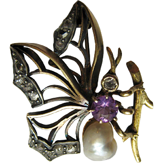 Antique Victorian Pearl, Amethyst & Rose Cut Diamond 14K Gold Butterfly Brooch