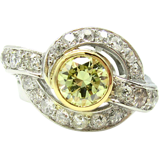 Vintage .94ct Fancy Yellow Diamond & Old Mine Cut Diamond Platinum  Swirl Statement Ring | Engagement Ring | Anniversary Ring