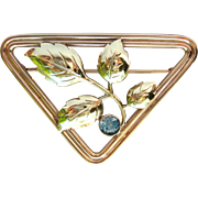 Blue Zircon Vintage Triangle Brooch Pin 10K Rose & Yellow Gold - Retro