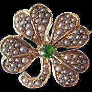 Antique Rare Demantoid Garnet & Pearl Four Leaf Clover Shamrock 14K Gold Brooch / Watch Pin / Pendant