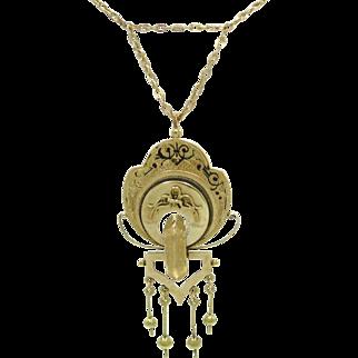 Victorian Taille d'Epargné Black Enamel Antique Geometric Tassel Necklace   Memento Mori   Mourning Jewelry Necklace