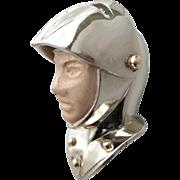 14K Gold & Enamel Movable Knight Armor Helmet Pendant / Charm