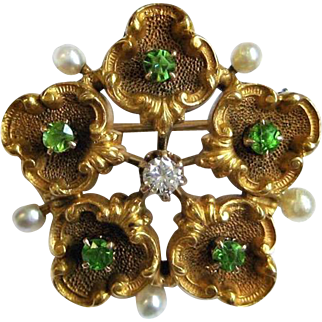 Antique Green Demantoid Garnet, Diamond, & Pearl 14K Flower Brooch