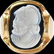 Black Sardonyx Roman Soldier / Legionnaire Hardstone Cameo Vintage Art Deco 14K Gold Unisex Ring   Men's Jewelry
