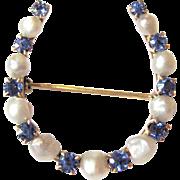 Edwardian Era American Yogo Montana Blue Sapphire & River Pearl Good Luck Horseshoe Brooch Pin | Convert To A Pendant Necklace