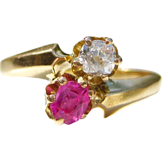 18K Ruby & Old Mine Cut Diamond Antique Bypass Toi et Moi Engagement Ring