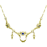 Fine French Art Nouveau Sapphire & Pearl 18K Gold Collier Draperie Flower Wreath Antique Festoon Necklace | Something Blue