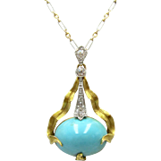 Art Nouveau Turquoise & Diamond 14K Gold and Platinum Antique Pendant | Arts and Crafts Movement
