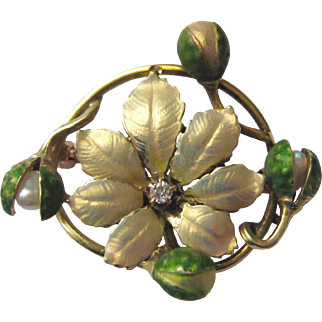 Iridescent Enamel, Diamond, & Pearl Art Nouveau Poinsettia Flower Antique Brooch / Watch Pin