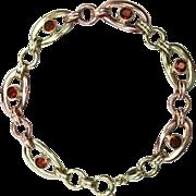 Retro Madeira Citrine Link Bracelet In 14K Rose & Green Gold | Vintage Bracelet