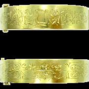 Reversible Victorian Lyre & Flowers Engraved 14K Gold Antique Bangle Bracelet   Greek Revival Stacking Bracelet