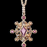 Edwardian Pink Sapphire, Old European Cut Diamond, & Seed Pearl 14K Gold Antique Pendant