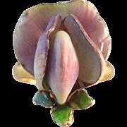 Allsopp Bros. Art Nouveau Sweet Pea Flower Iridescent Enamel 14K Gold Ring