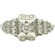 Art Deco Old European Cut Diamond & 18K White Gold Engagement Ring By Ring-O-Romance   Vintage Bridal Jewelry