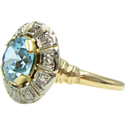 Vintage Blue Zircon & Diamond 14 Karat Gold Art Deco Retro Cluster Ring | Alternative Engagement Ring | Something Blue