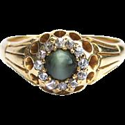 Cat's Eye Chrysoberyl & Rose Cut Diamond Victorian Unisex 18K Gold Cluster Ring - Birmingham, England - Victorian Ring