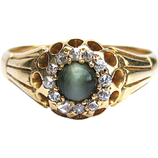 Cat's Eye Chrysoberyl & Rose Cut Diamond Victorian Unisex 18K Gold Cluster Ring - Birmingham, England - Victorian Ring